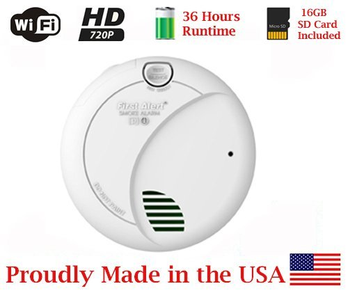 SecureGuard 36-hours Battery Powered Smoke Detector WI-Fi Spy Camera