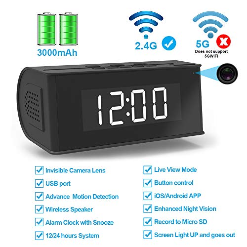 Fuvision Hidden Camera WiFi Alarm Clock