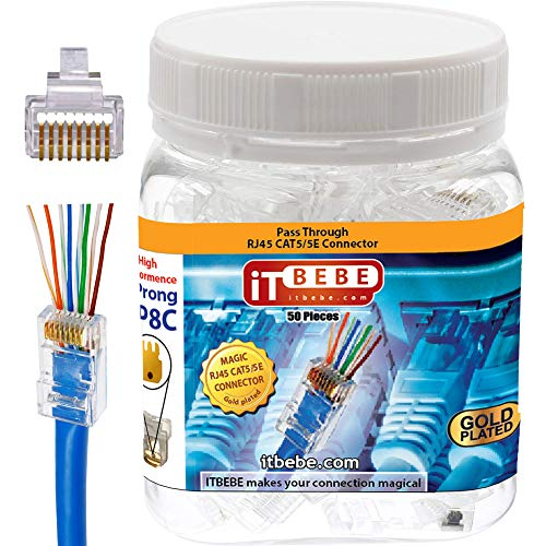 ITBEBE 50 Pieces Gold Plated End RJ45 connector